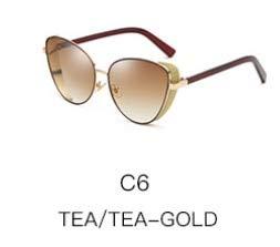 LKVNHP Neueste Europäische Populäre Von Künstlichen Kristall Verschönerung Kunststoff Hd Luxusmarken Sonnenbrille Frauen Cat Eye VintageWTYJ082 braun