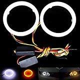 Taben, 1 set di luci ad anello Switchback per fari, indicatori di direzione e fendinebbia, colore: bianco/ambra, 60mm, 36 LED SMD 3020, con tubo di rivestimento di colore bianco opaco