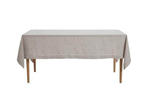 DAPU reines Leinen Tischdecke 100% natürlicher französischer Leinentuch Esstisch Abendessen Tischläufer (Rechteck/Viereck, Natürlicher Leinen, 140×220cm)