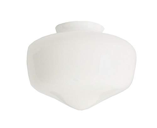 C Smethurst Weiße Glas Ersatz Houston Deckenventilator Lampenschirme. Breite an der Basis 7.7cm Durchmesser; Loch: 6.0cm Durchmesser; maximaler Durchmesser 17cm.