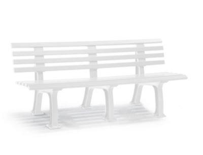 Parkbank aus Kunststoff - mit 9 Leisten - Breite 2000 mm, weiß - Bank Bank aus Holz\, Metall\, Kunststoff Bänke aus Holz\, Metall\, Kunststoff Gartenbank Kunststoff-Bank...