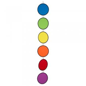 Carillon – tambouri Rainbow Circles – aux UV et aux intempéries – Disques : 6 x Ø20 cm – avec mousqueton clip vertébrale et ficelle
