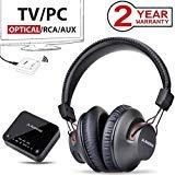 Avantree HT4189 Kabellose Kopfhörer für Fernseher mit Bluetooth Transmitter, Unterstützt Optisch, RCA, 3.5mm AUX, PC USB Audio, Plug & Play, No Delay, 30m HOHE REICHWEITE 40 Std. Akku