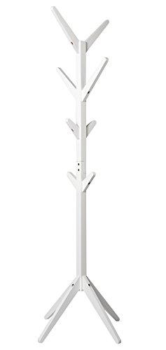 Woltu sr0059ws appendiabiti da terra in legno stand attaccapanni con 8 ganci armadio ingresso 180cm bianco
