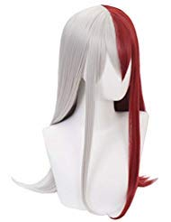 ücke Lang, Cosplay Shoto Todoroki Perücke Silber-Rot für Halloween Karneval Kostüm ()