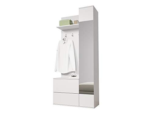 Mirjan24  Garderoben-Set Green, Flurgarderobe, Wandgarderobe, Farbauswahl, Schuhschrank, Spiegel, 3 Kleiderhaken (Weiß)