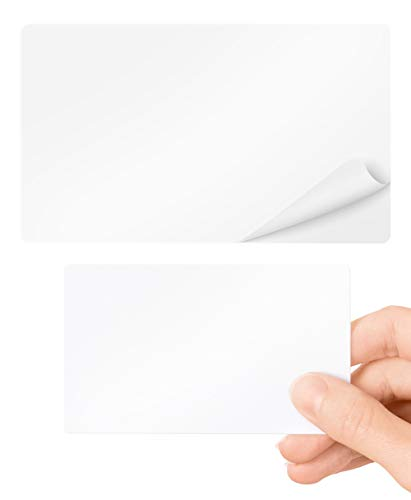 Lanyards Tomorrow PVC-Karten, selbstklebend, 100 Stück, blanko, weiß, Standard CR80, Kreditkarten-Größe 86 x 54 mm, dünn, 320 Mikron, mit 175 Mikron-Papierrückseite, bedruckbar für Ausweis-Drucker