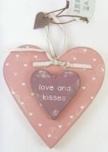 GORGEOUS SHABBY KEEPSAKE WOODEN WOOD HANGING HEART GIFT LOVE KISSES -