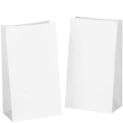 50 Papiertüten Weiß Geschenktüten Tütchen 14 x 26 x 8 cm klein Kraftpapier tüten Kraftpapiertüten Adventskalender Süßigkeiten Geschenk Papier kleine KGpack mini keks Papierbeutel ()