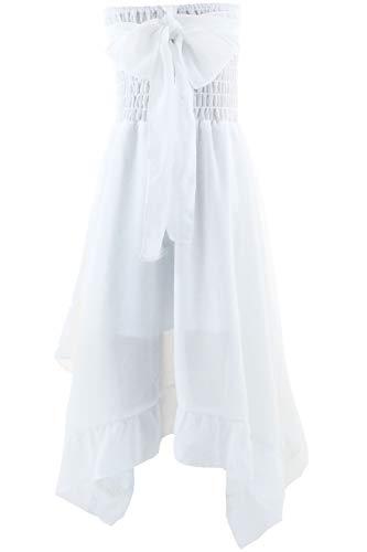 nder Mädchen Kleid Festlich Partykleid Hochzeit Chiffon Kleid Gr.98-164 (146/152, Weiß) ()