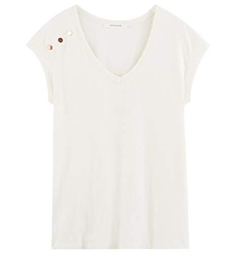Promod T-Shirt Manches Courtes Femme Ecru L