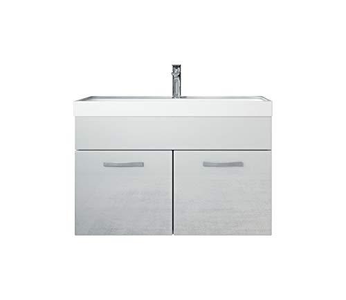 Badezimmer Badmöbel Set Paso 01 80 cm Waschbecken Hochglanz Weiß Fronten - Unterschrank Schrank Waschbecken Waschtisch
