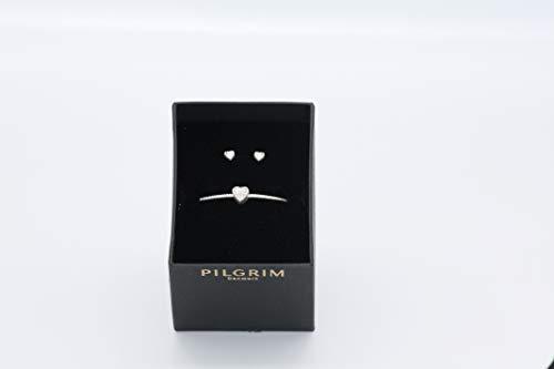 PILGRIM Schmuck-Set 9861736012 Armband und Ohrstecker Herz silber rose grau