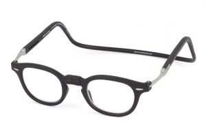 Reading Glasses CliC Flex Vintage Frosted Black/Black Rubber-Strength +3.00