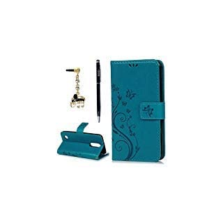 LG Aristo Case, LG Phoenix 3 Case, LG K8 2017 Case, YOKIRIN Wrist Strap Flip Kickstand PU Leather Wallet Cover Embossed Floral Butterfly with ID&Credit Card Holder 3D Blue Diamond Dust Plug,Blue