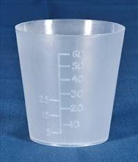 Medicine Measure Pot 60ml x 50. Polythene. Autoclavable.