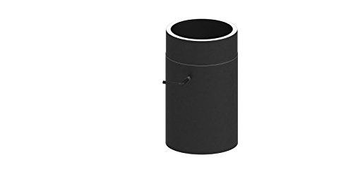 Ofenrohr Längenelement doppelwandig, 300mm Länge mit Drosselklappe, Ø 130mm Durchmesser; schwarz lackiert