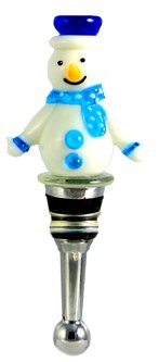 Blue and White Snowman Wine Bottle Stopper