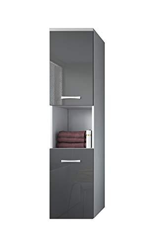 #Badezimmer Schrank Montreal 131 cm Grau Hochglanz Fronten – Regel Schrank Hochschrank Schrank Möbel#