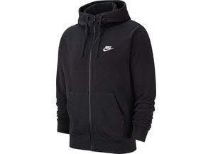 Nike Herren M NSW Club Hoodie FZ FT Sweatshirt, Black/White, XL -