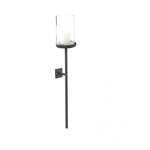 CALEIDO Wand Windlicht KARIN Eisen Glas schwarzbraun, Höhe 45 cm