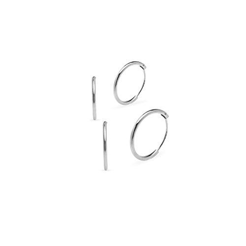 925Argento Sterling set di due paia di 10e 12mm Sleeper Round Thin Endless orecchini a cerchio, Argento, colore: Sterling Silver, cod. SL-E-1004-Parent