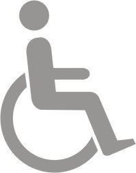 Glas Frost Finish aus Vinyl Schild 'Symbol Behinderten WC' 150 x 200 -