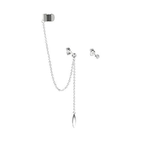 Ohrstecker Sterling-Silber 925 Zirkonia Kristall Punktform Ovaler Anhänger Ohrklemme