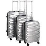 Pure Koffer Wave / Reisekofferset / Kofferset / Set / Hartschale / Hardcase / Handgepäck / robustes Pet / silber / TSA Zahlenschloss