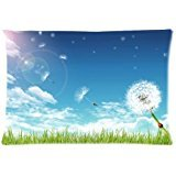 personalized-a-ladybug-on-the-dandelion-under-blue-sky-and-white-clouds-pillowcasesfundas-para-almoh