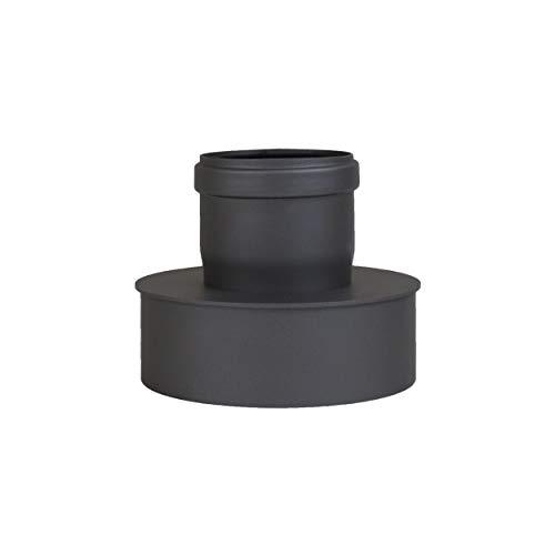 Ofenrohr-adapter (Pelletrohr Ofenrohr Pellet Rauchrohr Kaminrohr Erweiterung Ø 80mm auf 130 mm Ø 80mm auf 150 mm grau schwarz (Ø 80mm auf 150 mm, schwarz))