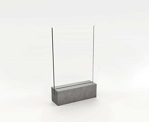 CO33 Tischaufsteller aus Beton, klein - mit Einer Nut und Plexiglas