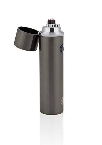 TESLA Lighter T02 Lichtbogen Feuerzeug, Plasma Double-Arc, elektronisch wiederaufladbar, aufladbar mit Strom per USB, ohne Gas und Benzin, mit Ladekabel, in edler Geschenkverpackung, Schwarz gebürstet