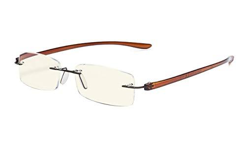 Eyekepper Computer lesen Brille,Blau Licht Filter Randlos Leser,UV-Schutz,Braun Rahmen Brauner Arm +1.25