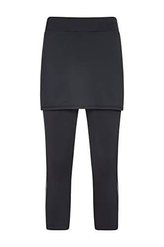 Mountain Warehouse Volley Caprihose mit Rock für Damen - Damenhose, geruchshemmende Hose, Skorts, reflektierende Leggings - Für Fitness, Wandern, Laufen, Frühling Schwarz DE 40 (EU 42)