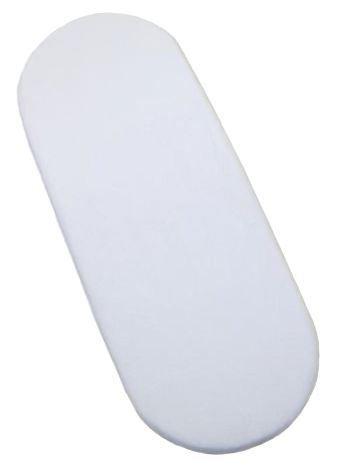 Jersey Spannbetttuch für Baby-Tragekorb, 100% Baumwolle, Oval (Format Moseskorb), Weiß