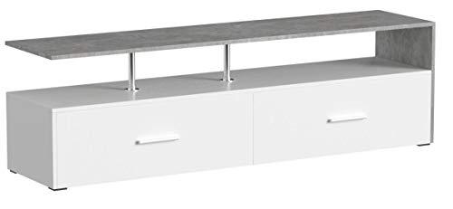 Vicco Lowboard Amato Kommode Schrank Weiß Anrichte Fernsehschrank TV (Weiß Beton)