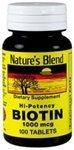 Biotin Hi-Potency 1,000 mcg 100 Tabs by Nature's Blend