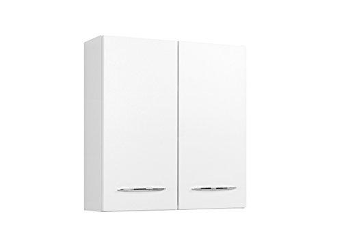 lifestyle4living Bad Hängeschrank in Weiß | Badschrank mit Metallgriffen | Badezimmerschrank mit 2 Türen und 2 Einlegeböden