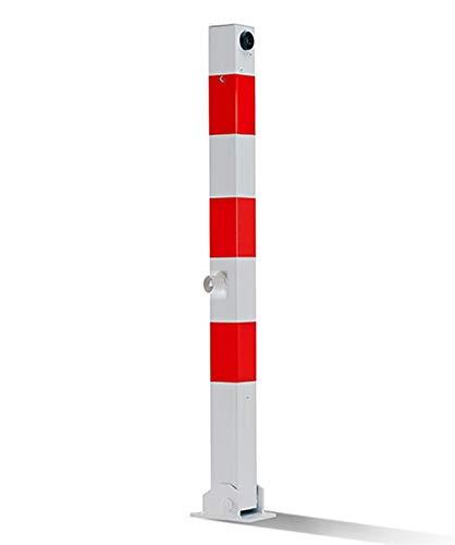 UVV UVAP7050 Absperrpfosten 70x70mm, eckig, Überflur 900mm, Klappbar, umlegbar mit Dreikantschloss, zum Festdübeln
