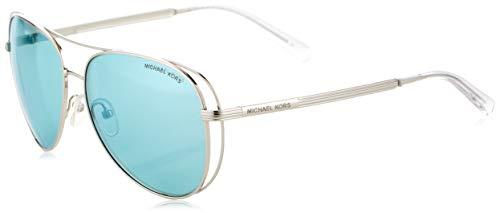 Michael Kors Damen LAI 113725 58 Sonnenbrille, Shiny Silver-Tone/Tealmirror