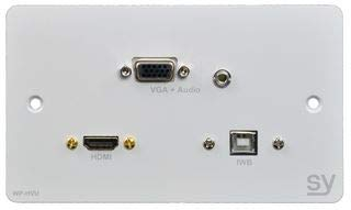 HDMI, VGA & USB B Double Gang Wall Plate SY-WP-HVU-BW Wp Wall