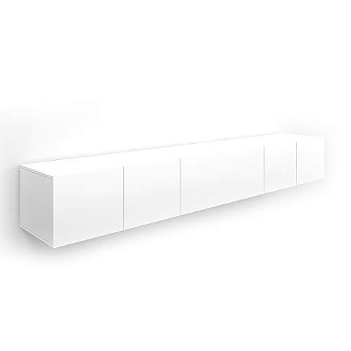 Vicco Sideboard Cumulus Highboard Hochglanz Kommode Lowboard TV Anrichte (Weiß Matt, 2er Set)