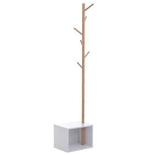 HOMCOM Garderobenständer Kleiderhaken Garderobe mit Sitzbank + Stauraum Baum-Design Zweige 6 Haken MDF + Bambus Weiß + Natur 40 x 30 x 180 cm