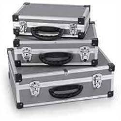 Varo PRM10120 - Juego de 3 maletines de aluminio (2 cerrojos con llave en cada maletín), color plateado