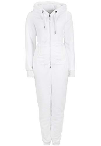 Eight2Nine Damen Jumpsuit aus kuscheligem Teddy Fleece | Overall | Ganzkörperanzug mit Ohren White S/M