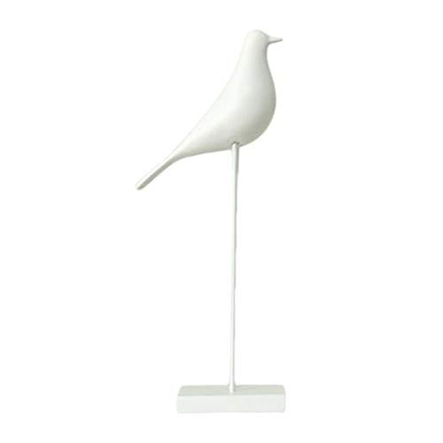 Homyl 24cm Résine Oiseau Figurine Jardin Sculpture Miniature Support De Table Ornement - blanc
