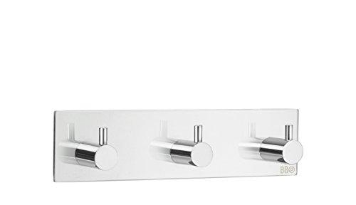 Design-dreifach-haken (Beslagsboden Dreifach-Haken Design Selbstklebend Edelstahl Poliert, Silber, 180x 45mm)