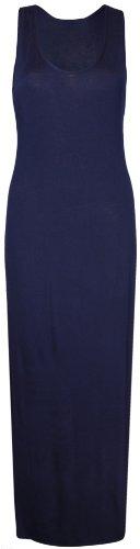 Purple Hanger - Damen Maxi Kleid U-Ausschnitt Trikot Racerback Ärmelloses Stretch Maxi Trägerkleid - EU 36 / 38, Marineblau -