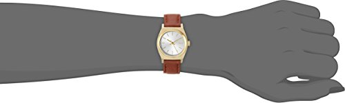 Nixon Women's A5091976 Small Time Teller Stainless Steel Watch with Leather Band